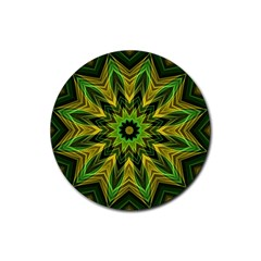 Woven Jungle Leaves Mandala Drink Coaster (round)
