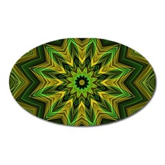 Woven Jungle Leaves Mandala Magnet (oval)