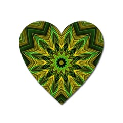 Woven Jungle Leaves Mandala Magnet (heart)