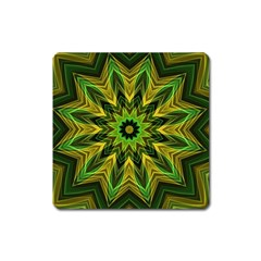 Woven Jungle Leaves Mandala Magnet (Square)
