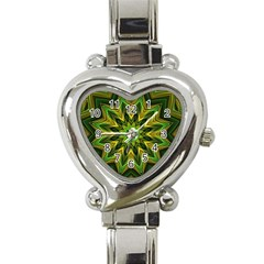 Woven Jungle Leaves Mandala Heart Italian Charm Watch