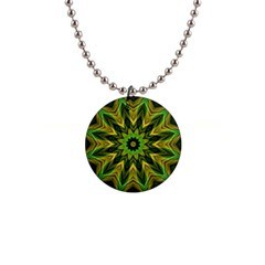 Woven Jungle Leaves Mandala Button Necklace