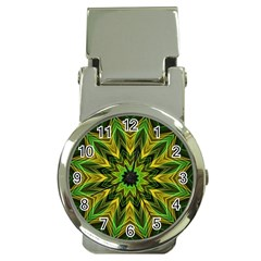 Woven Jungle Leaves Mandala Money Clip with Watch