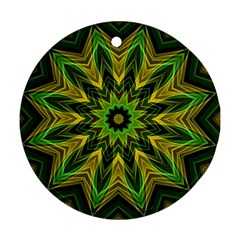 Woven Jungle Leaves Mandala Round Ornament (two Sides)