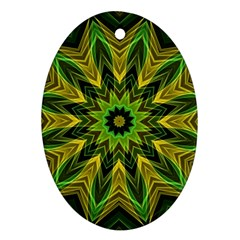 Woven Jungle Leaves Mandala Oval Ornament (two Sides)