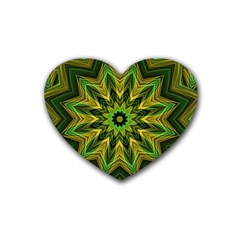 Woven Jungle Leaves Mandala Drink Coasters (heart)