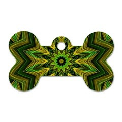 Woven Jungle Leaves Mandala Dog Tag Bone (Two Sided)