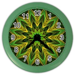 Woven Jungle Leaves Mandala Wall Clock (Color)