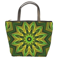 Woven Jungle Leaves Mandala Bucket Handbag