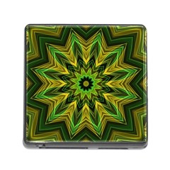 Woven Jungle Leaves Mandala Memory Card Reader with Storage (Square)