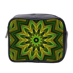 Woven Jungle Leaves Mandala Mini Travel Toiletry Bag (Two Sides)