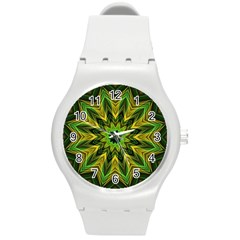 Woven Jungle Leaves Mandala Plastic Sport Watch (Medium)