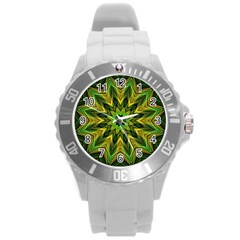 Woven Jungle Leaves Mandala Plastic Sport Watch (Large)