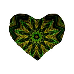 Woven Jungle Leaves Mandala 16  Premium Heart Shape Cushion