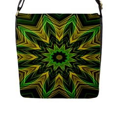 Woven Jungle Leaves Mandala Flap Closure Messenger Bag (Large)