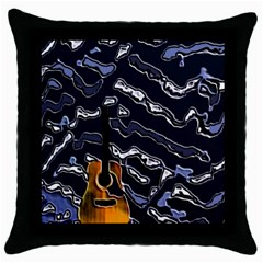Sound Waves Black Throw Pillow Case