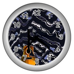 Sound Waves Wall Clock (Silver)