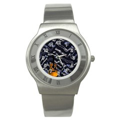 Sound Waves Stainless Steel Watch (Slim)