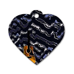 Sound Waves Dog Tag Heart (one Sided)