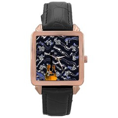 Sound Waves Rose Gold Leather Watch