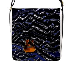 Sound Waves Flap Closure Messenger Bag (Large)
