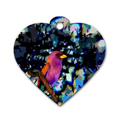 Bird Dog Tag Heart (One Sided)