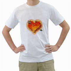 Burning Hart Men s T Shirt (white)