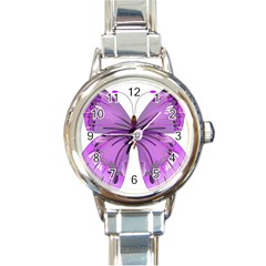 Purple Awareness Butterfly Round Italian Charm Watch