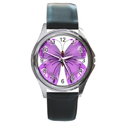 Purple Awareness Butterfly Round Leather Watch (Silver Rim)