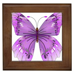 Purple Awareness Butterfly Framed Ceramic Tile
