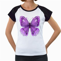 Purple Awareness Butterfly Women s Cap Sleeve T-Shirt (White)