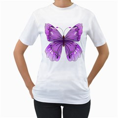 Purple Awareness Butterfly Women s Two-sided T-shirt (White)