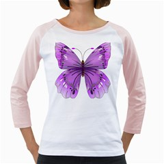 Purple Awareness Butterfly Women s Long Cap Sleeve T-Shirt (White)