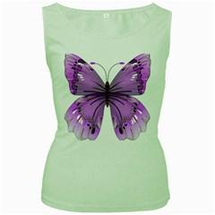 Purple Awareness Butterfly Women s Tank Top (Green)