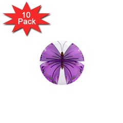 Purple Awareness Butterfly 1  Mini Button Magnet (10 pack)