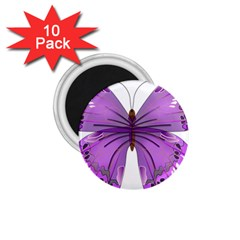 Purple Awareness Butterfly 1.75  Button Magnet (10 pack)