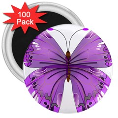 Purple Awareness Butterfly 3  Button Magnet (100 pack)