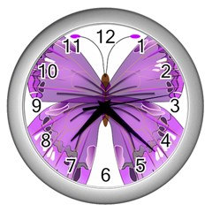 Purple Awareness Butterfly Wall Clock (Silver)