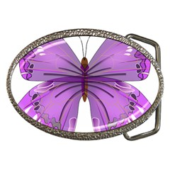 Purple Awareness Butterfly Belt Buckle (Oval)