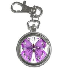 Purple Awareness Butterfly Key Chain Watch
