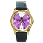Purple Awareness Butterfly Round Leather Watch (Gold Rim)  Front