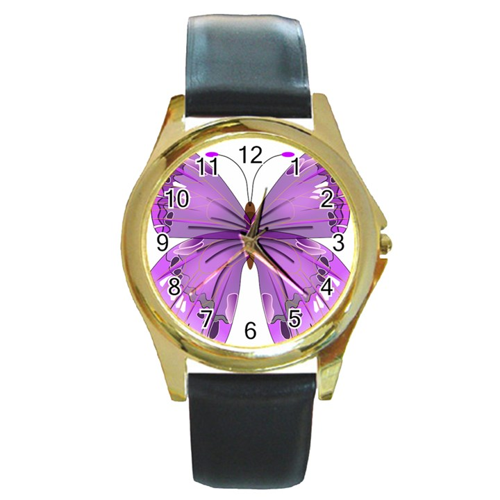 Purple Awareness Butterfly Round Leather Watch (Gold Rim)