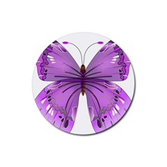 Purple Awareness Butterfly Drink Coaster (Round)