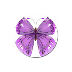 Purple Awareness Butterfly Magnet 3  (Round)
