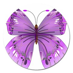 Purple Awareness Butterfly Magnet 5  (Round)