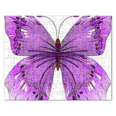 Purple Awareness Butterfly Jigsaw Puzzle (Rectangle)