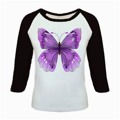 Purple Awareness Butterfly Kids Long Cap Sleeve T-Shirt