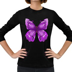 Purple Awareness Butterfly Women s Long Sleeve T-shirt (Dark Colored)