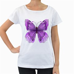 Purple Awareness Butterfly Women s Loose-Fit T-Shirt (White)