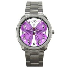Purple Awareness Butterfly Sport Metal Watch